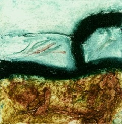 Collagraph Printmaking of sea scape