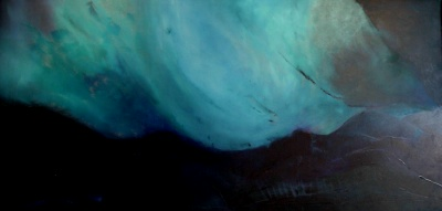 Oil on canvas depicting a storm. Atmosphere is created using texture.